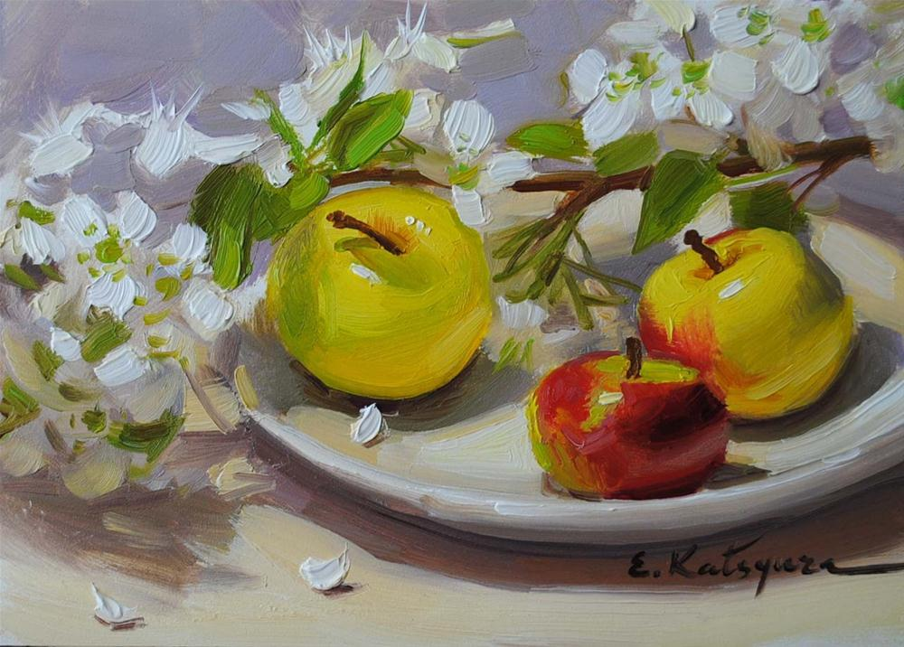 """Apple Blossoms"" original fine art by Elena Katsyura"