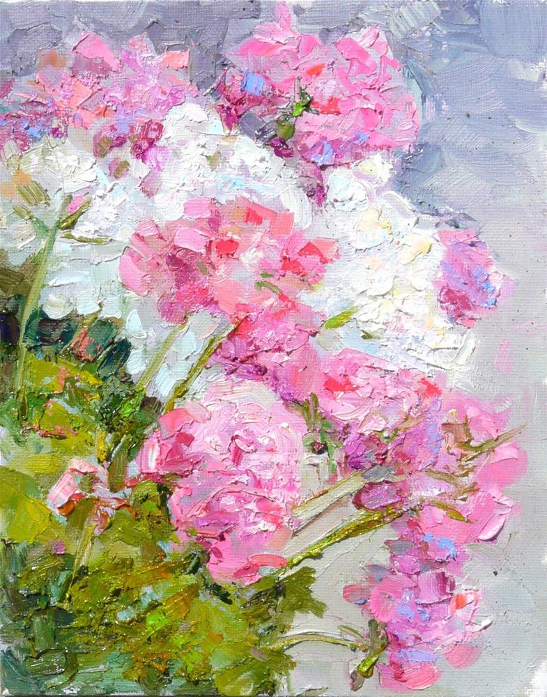 """Store Front Geraniums,still life,oil on canvas,10x8,price$125"" original fine art by Joy Olney"