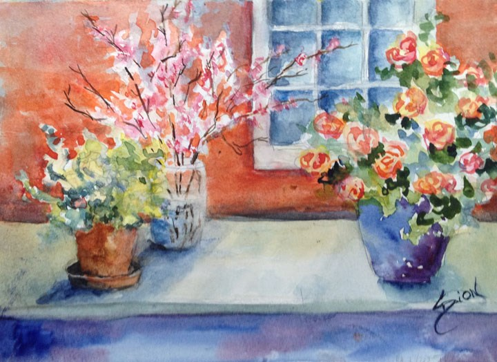 """Roses in Lavender Vase and Company"" original fine art by Sue Dion"