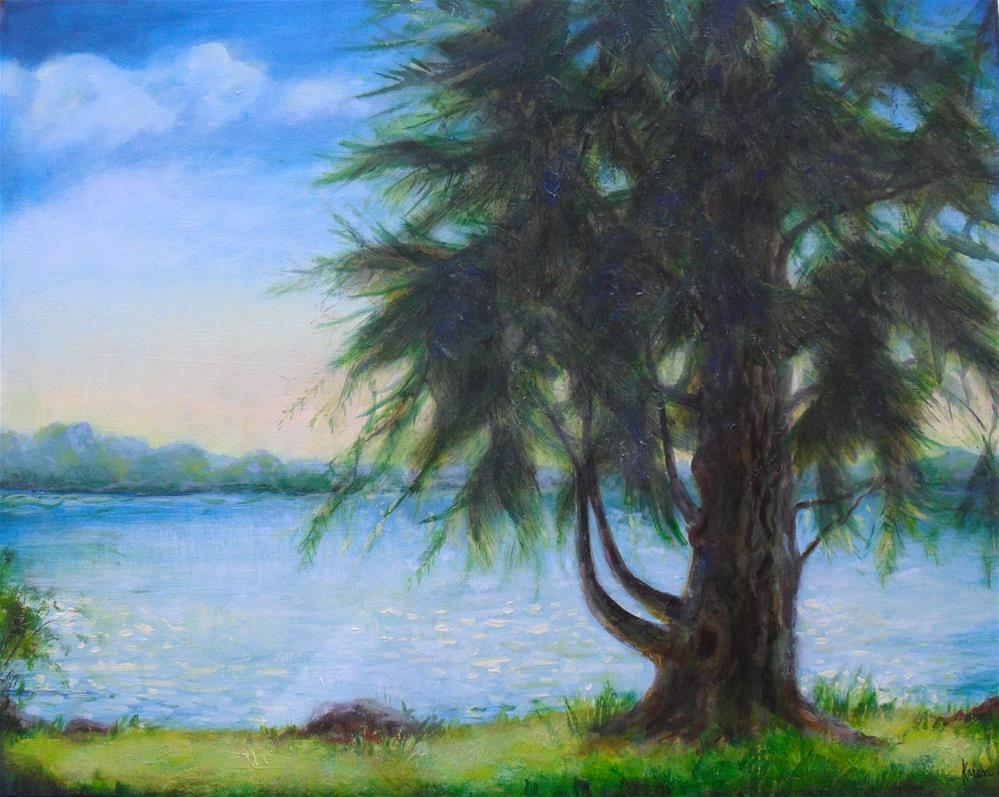 """""""Lake Cadillac"""" original fine art by Karen Roncari"""