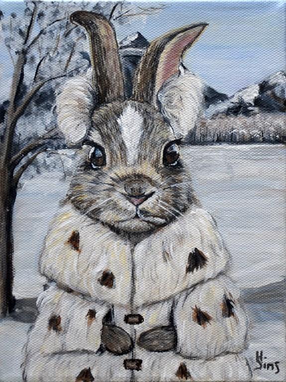 """Snow Bunny"" original fine art by Heather Sims"