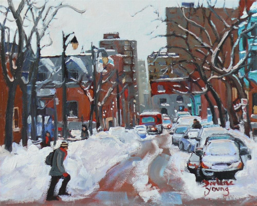 """1034 Montreal Scene, McGill Ghetto, 8x10, oil on board"" original fine art by Darlene Young"
