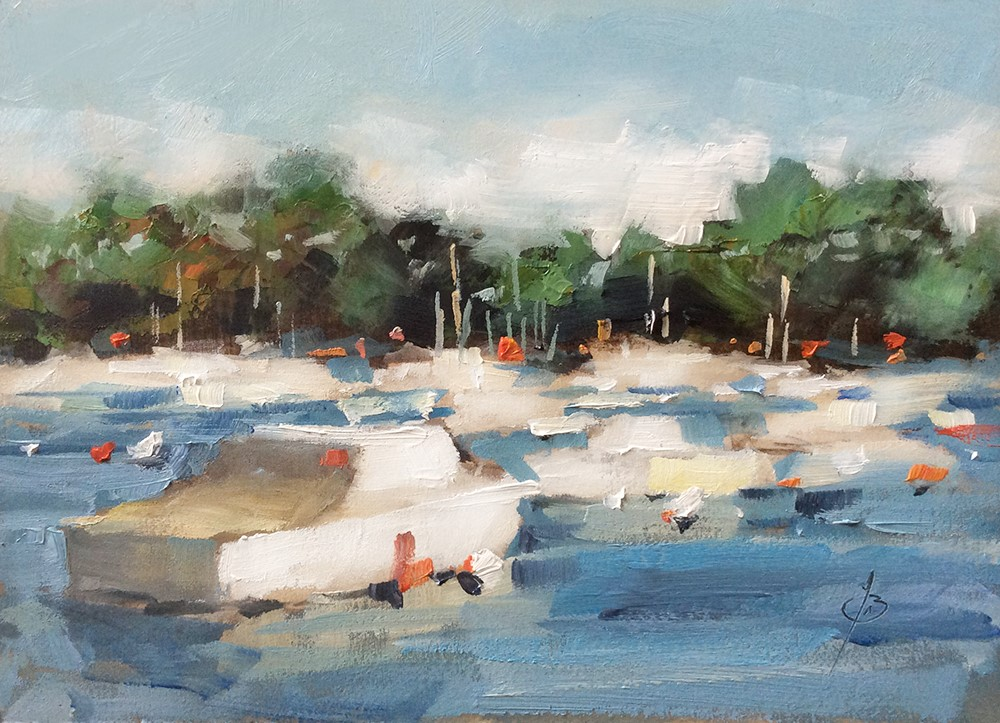 """""""BOATS AT REST IN HARBOR"""" original fine art by Tom Brown"""