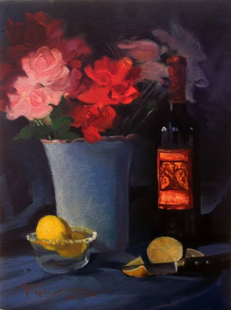 """""""Gnarly Head with Roses  oil still life painting"""" original fine art by Robin Weiss"""