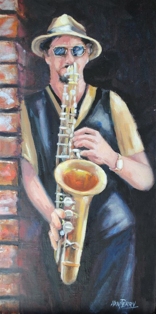 """Sax on the Corner"" original fine art by Nan Perry"