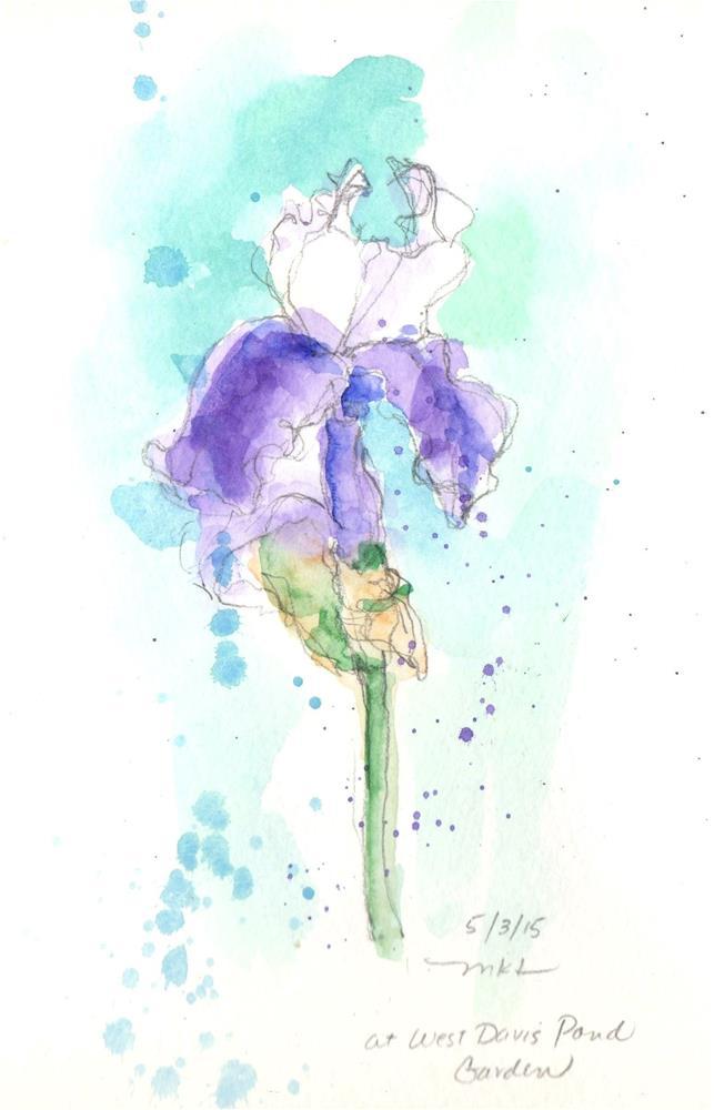 """Purple Iris at the Lake"" original fine art by Marlene Lee"