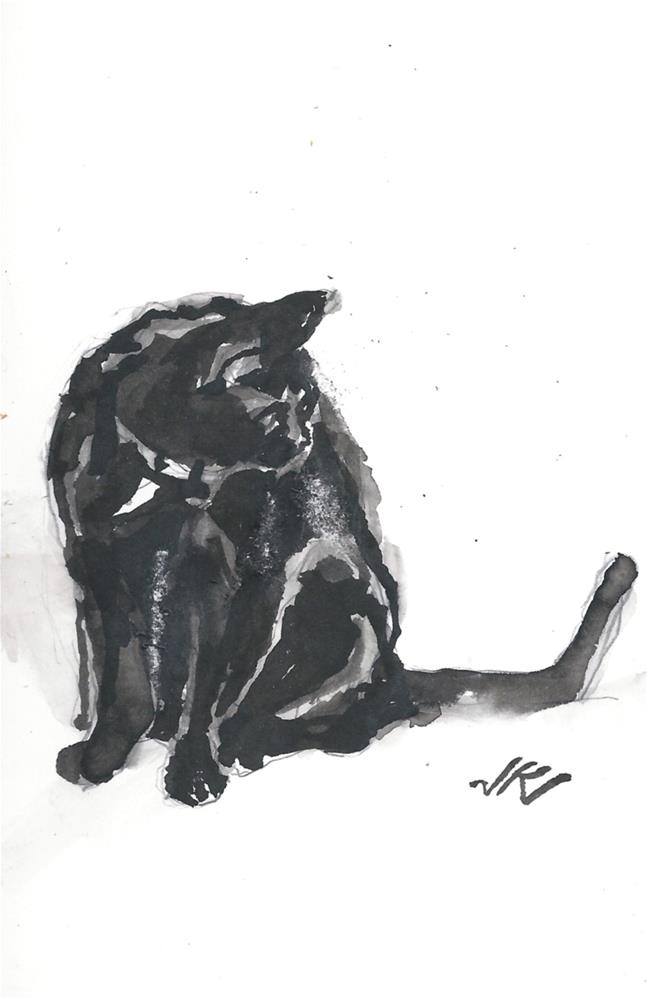 """Daily Cat 177"" original fine art by Jean Krueger"