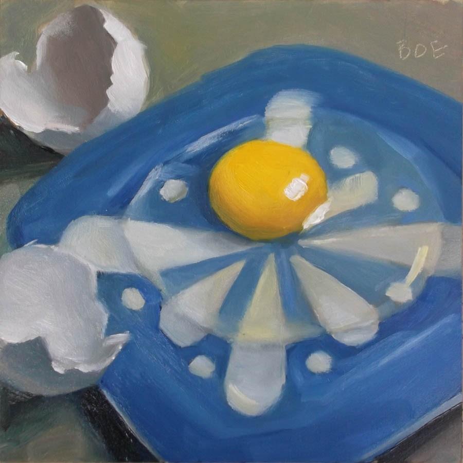 """""""Egg Over Blue"""" original fine art by Karen Boe"""
