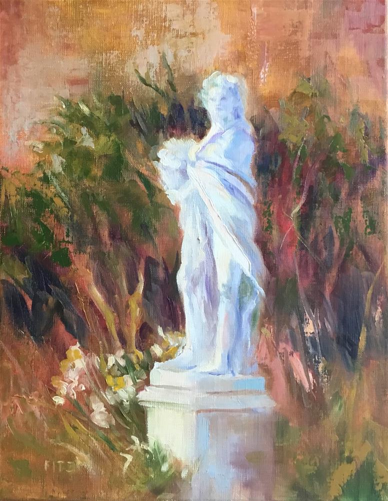 """A Statue in a Garden"" original fine art by Charlotte Fitzgerald"