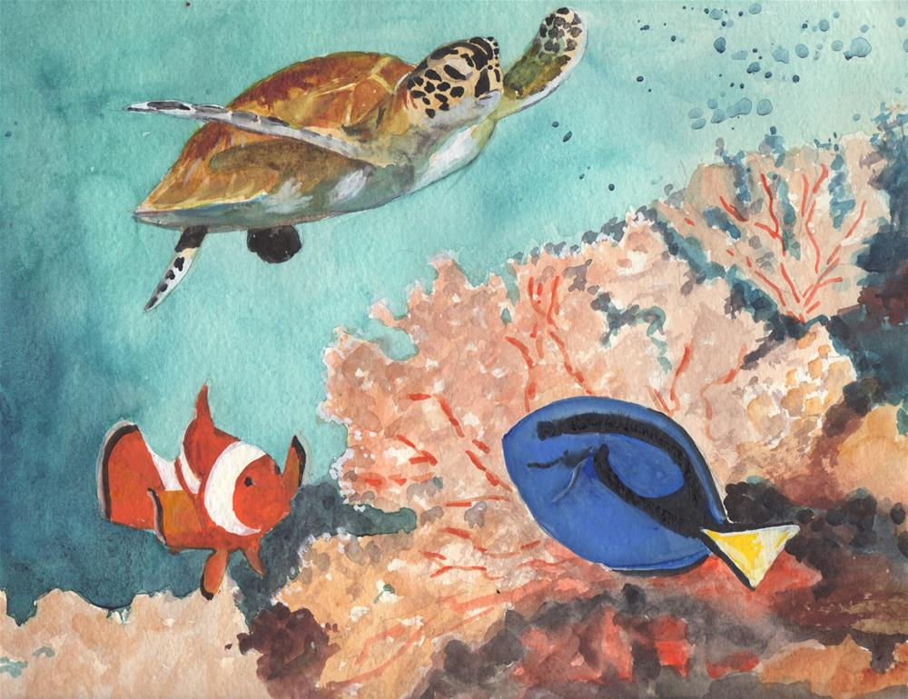 """""""Coral Reef"""" original fine art by Bunny Griffeth"""
