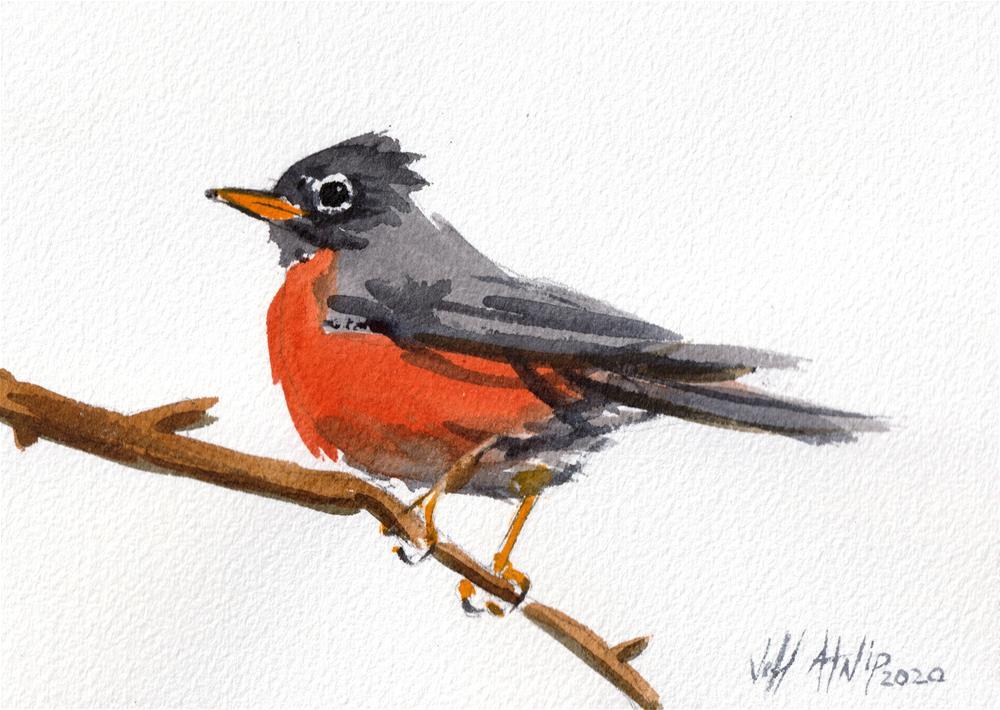 """Winter Robin"" original fine art by Jeff Atnip"