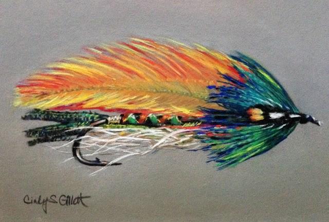 """Fly 22 - Rock Island Featherwing Streamer"" original fine art by Cindy Gillett"