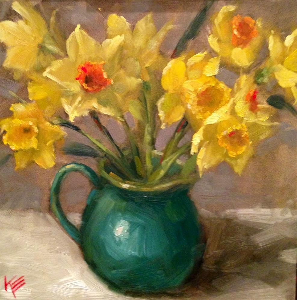 """Yellow mix Daffodils"" original fine art by Krista Eaton"