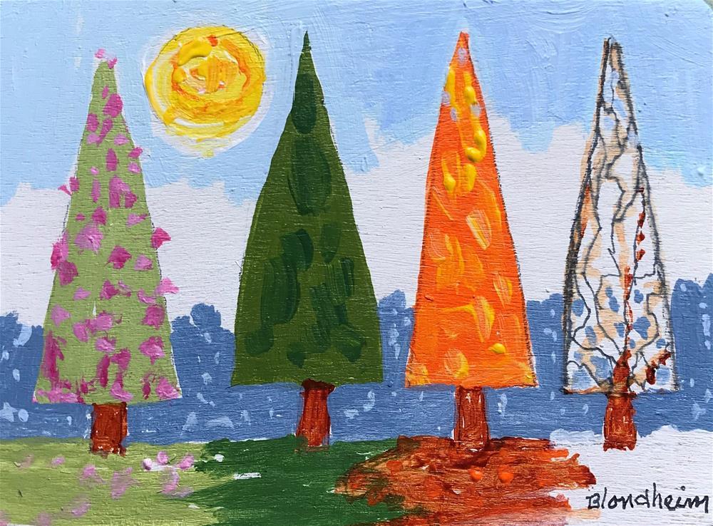 """Tree Toons Four Seasons"" original fine art by Linda Blondheim"