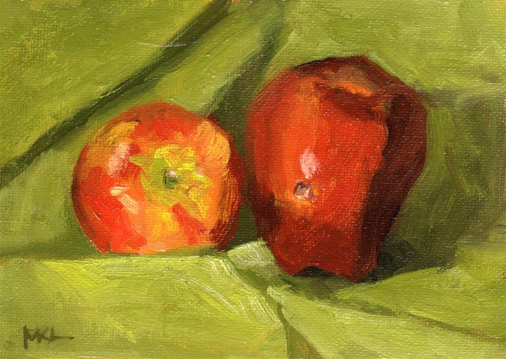 """Hole in Apple"" original fine art by Marlene Lee"