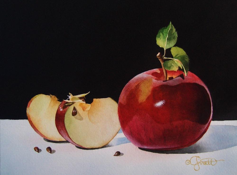 """Four Apple Seeds"" original fine art by Jacqueline Gnott, TWSA, WHS"