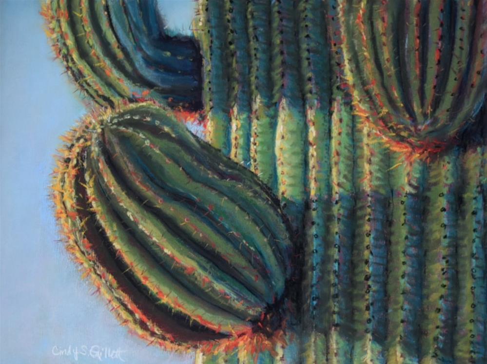 """Saguaro Sunrise"" original fine art by Cindy Gillett"