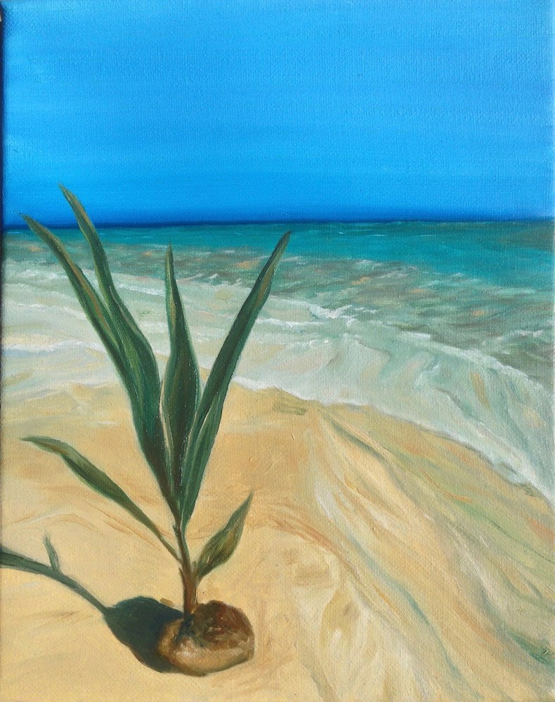 """Island Palm"" original fine art by Karen Stitt"