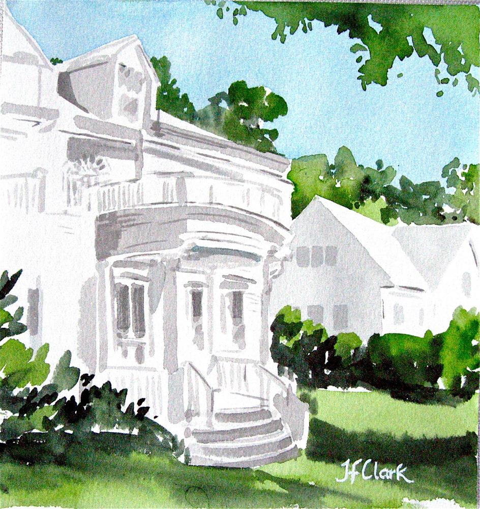 """Tiny White House, Newton MA"" original fine art by Judith Freeman Clark"