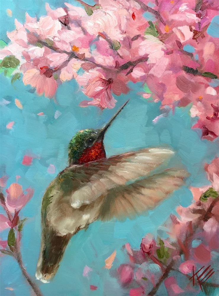 """Hummingbird with Blossoms"" original fine art by Krista Eaton"