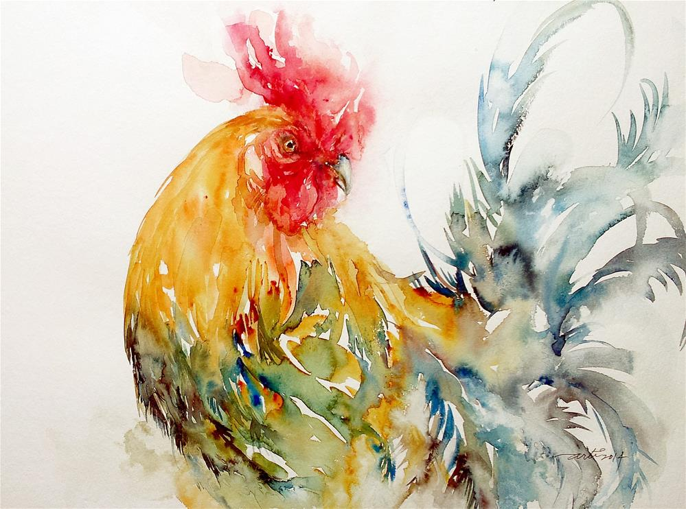 """""""Dazzler the Rooster"""" original fine art by Arti Chauhan"""
