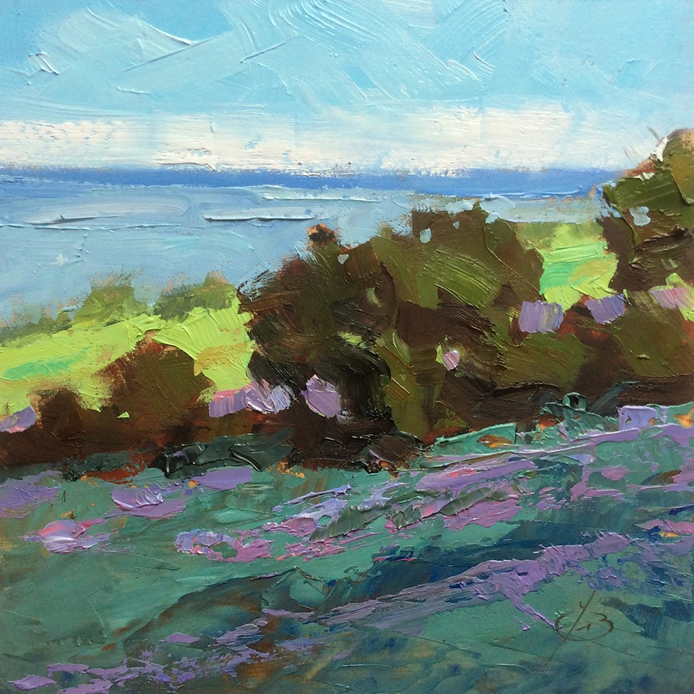 """CALIFORNIA WILDFLOWERS, OCEAN, TREES"" original fine art by Tom Brown"