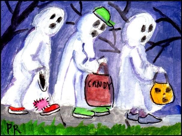 """3 Wild and Crazy Ghosts"" original fine art by Patricia Ann Rizzo"