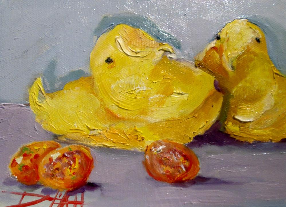 """""""Peeps and Candy Eggs"""" original fine art by Delilah Smith"""