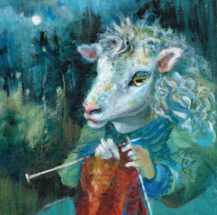 """""""Knitting at Night"""" original fine art by Theresa Taylor Bayer"""