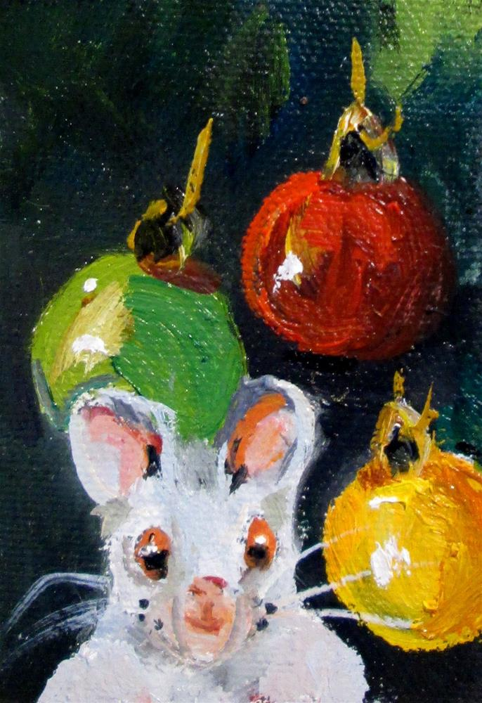 """Christmas Mouse No.2"" original fine art by Delilah Smith"