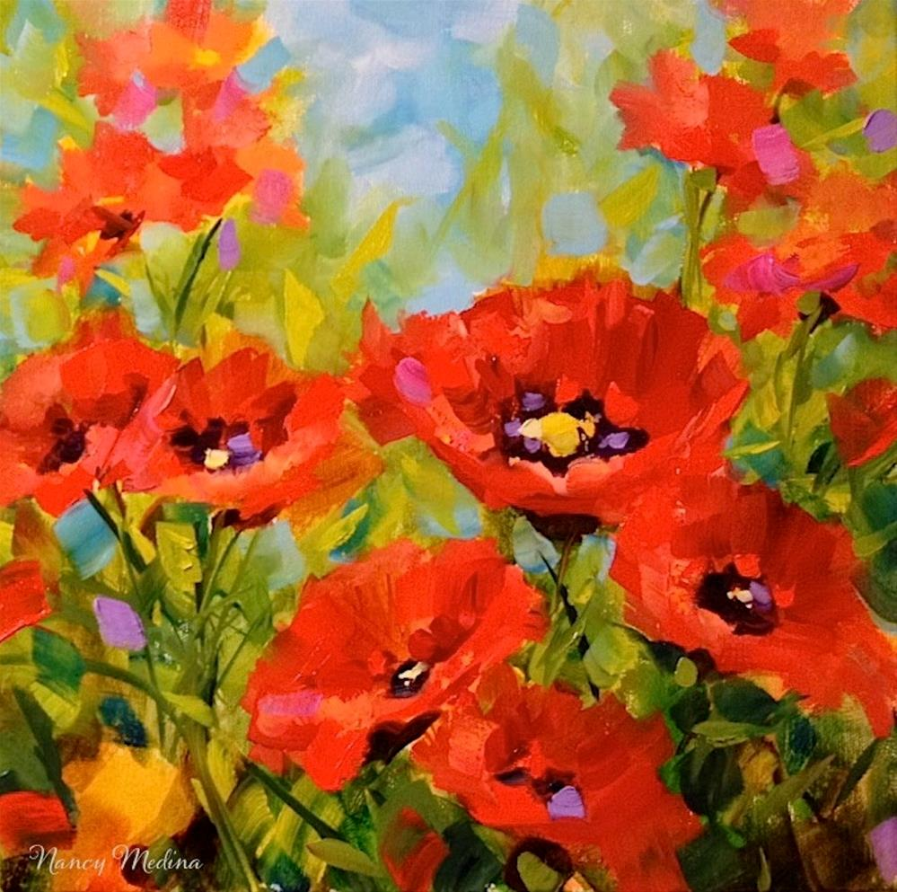 """""""Surrounded by Love - Red Poppies"""" original fine art by Nancy Medina"""