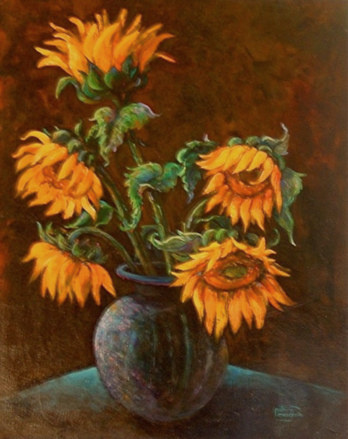 """Sunflowers in a Vase"" original fine art by Patricia Musgrave"