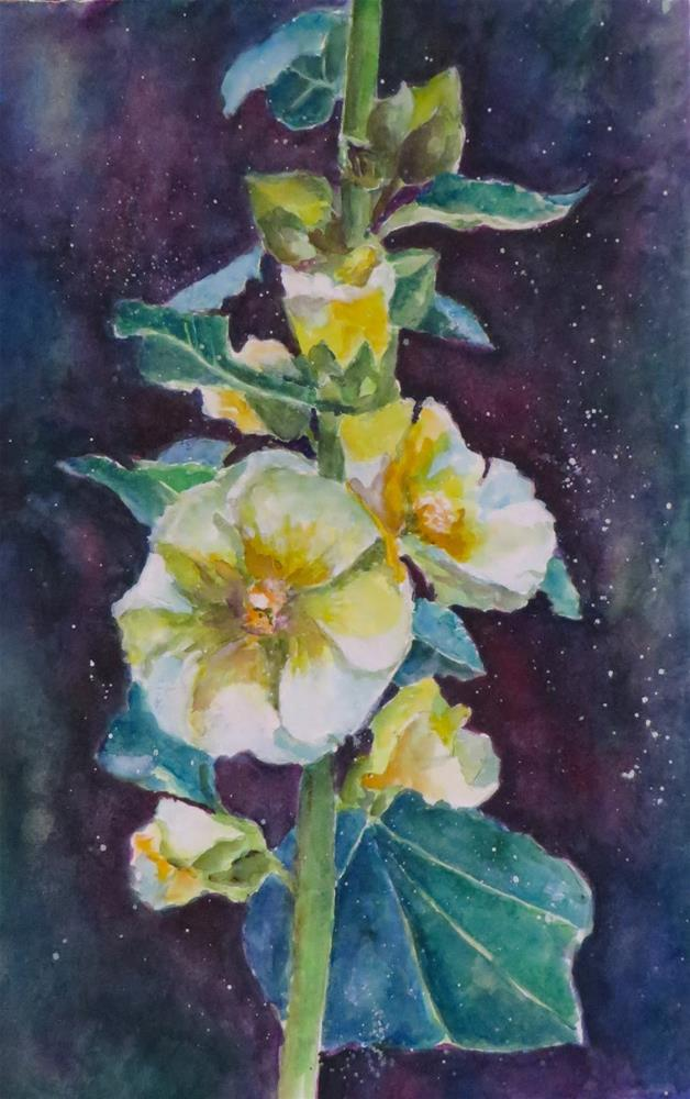 """811 Hollyhocks"" original fine art by Diane Campion"