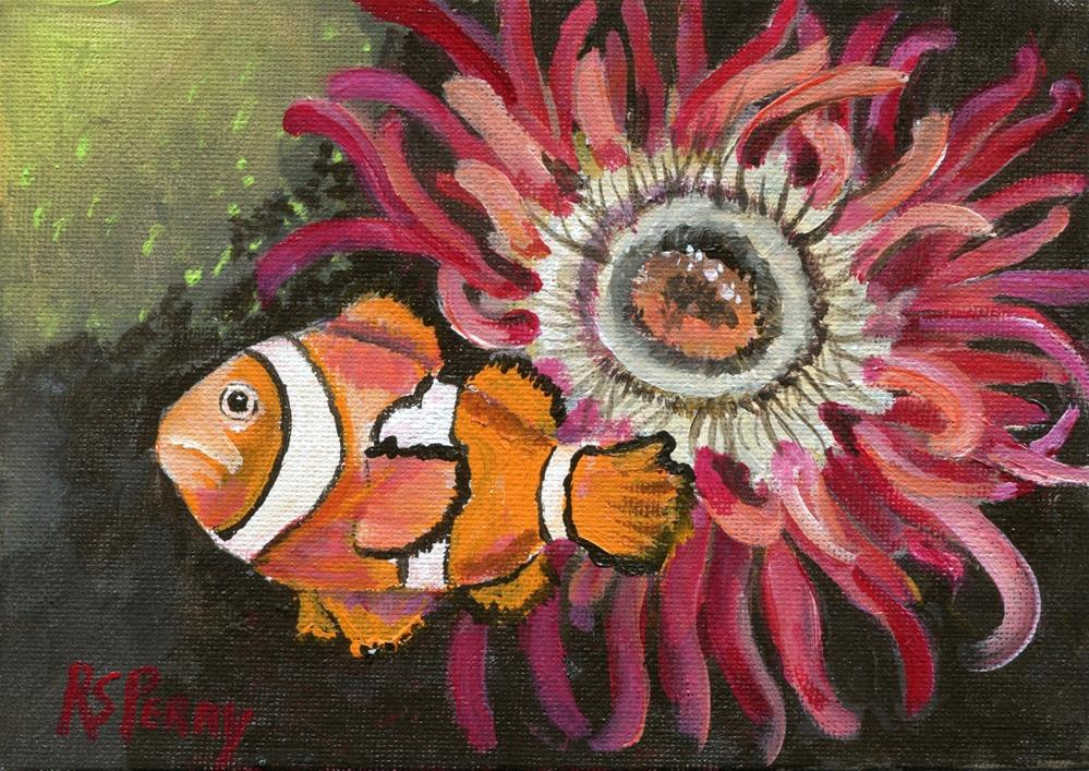 """Sea Anemone and clown fish "" original fine art by R. S. Perry"
