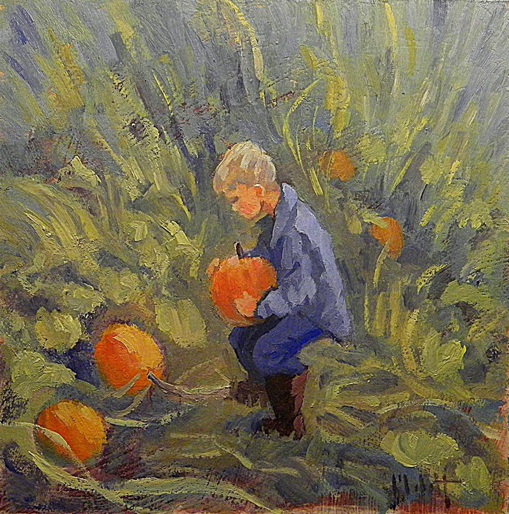 """Boy Picking Pumpkin Fall Autumn Daily Oil Painting"" original fine art by Heidi Malott"