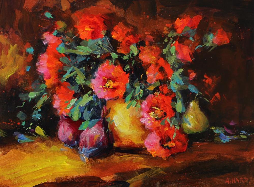 """Original poppy pear onion floral bouquet painting"" original fine art by Alice Harpel"