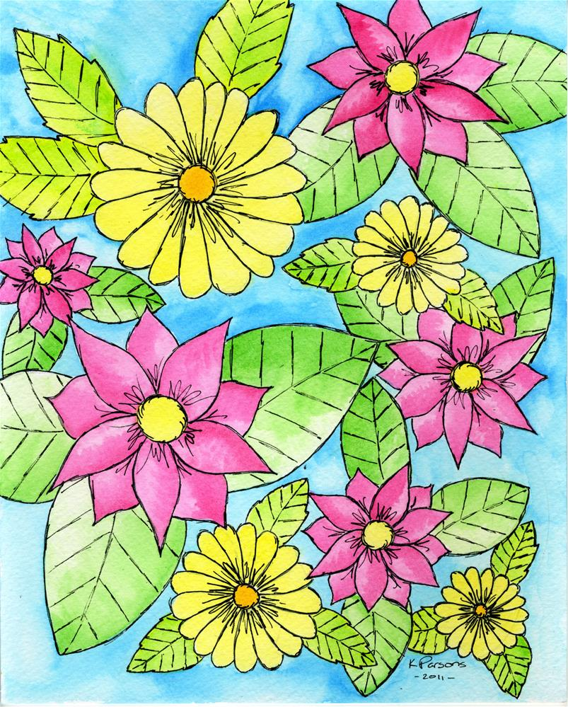 """""""Pink and Yellow"""" original fine art by Kali Parsons"""