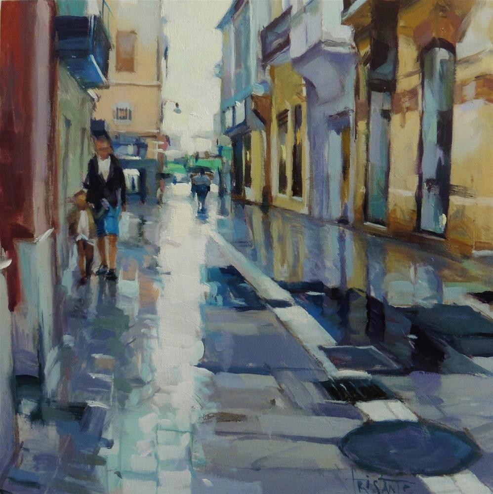 """Wet paving stone"" original fine art by Víctor Tristante"