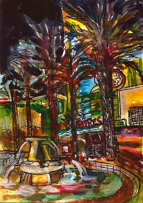 """ACEO Night Lights Fountain Theatre Cityscape Painting Illustration Penny StewAr"" original fine art by Penny Lee StewArt"