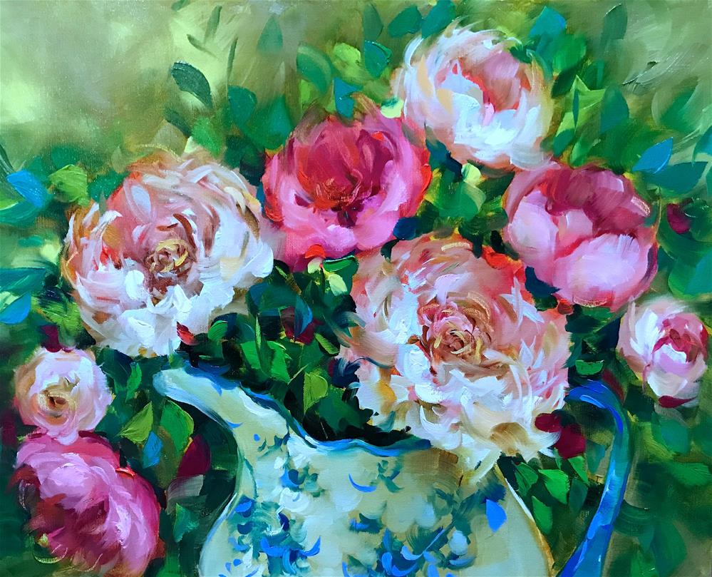 """""""Monthly Classes Are Blooming ~ Heart Song Peonies"""" original fine art by Nancy Medina"""