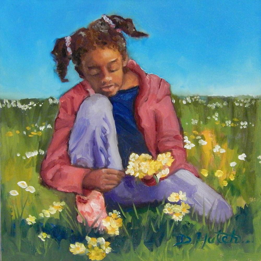 """""""Picking Daisies"""" original fine art by Diane Hutchinson"""