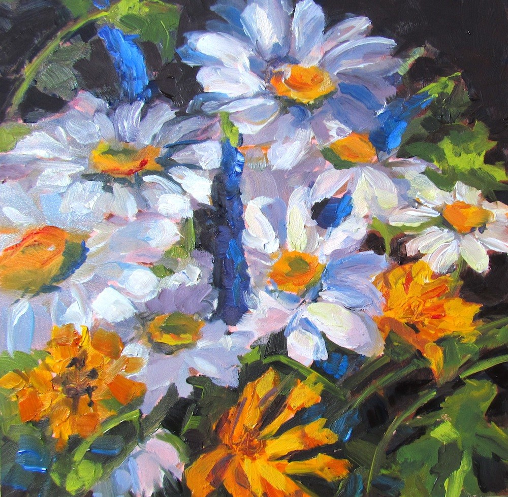 """""""Daisies, Veronica, and Coreopsis"""" original fine art by Lynne Schulte"""