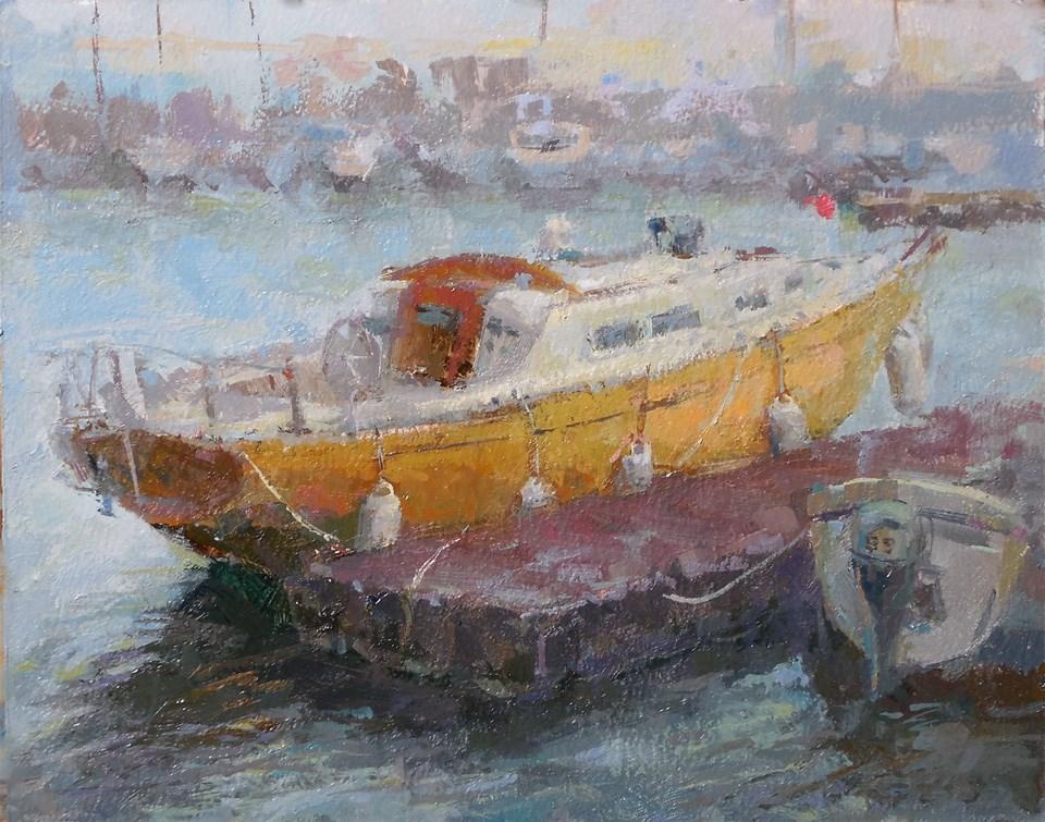 """Harbourfront  Sailboat 02"" original fine art by Michael Pieczonka"