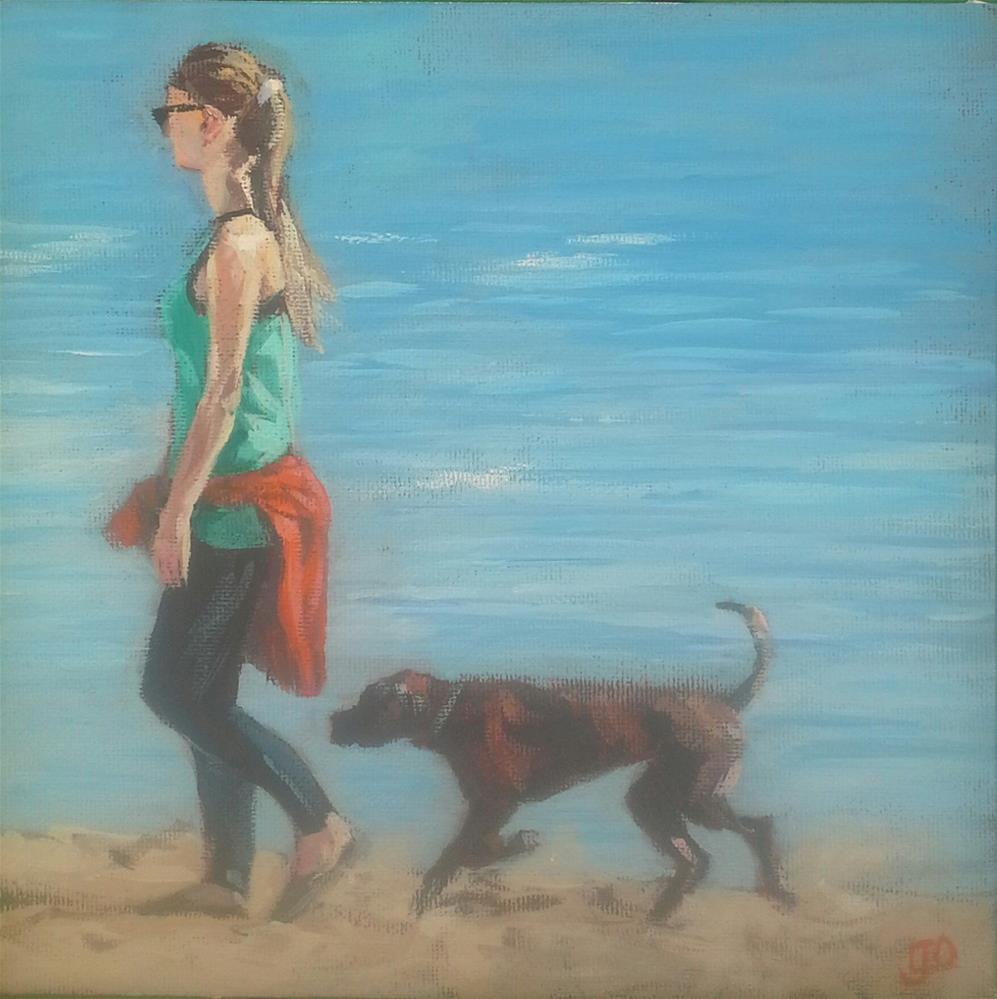 """Beach Walk"" original fine art by Leanne Owen"