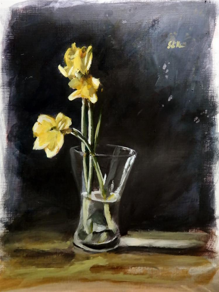 """1635 Daffoldils in Vase"" original fine art by Dietmar Stiller"