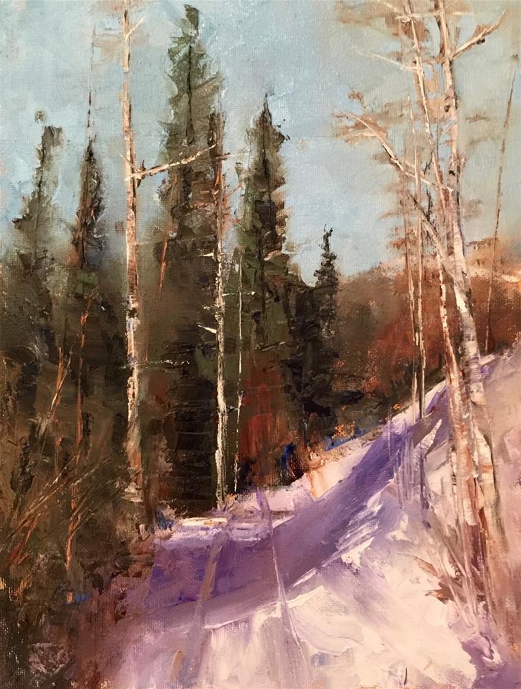 """Steamboat Snow, 9x12"" original fine art by Ann Feldman"