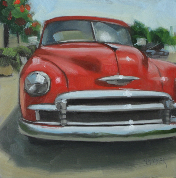 """1950 Chevy sedan 6x6 oil"" original fine art by Claudia Hammer"