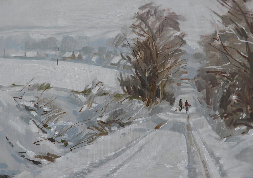 """North Heath Lane in snow"" original fine art by Haidee-Jo Summers ROI"