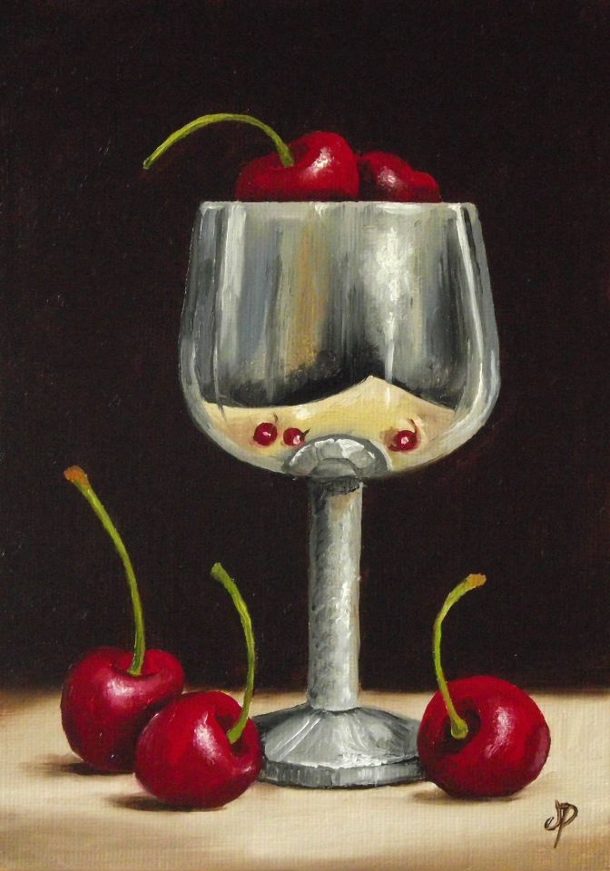 """Cherries with Silver"" original fine art by Jane Palmer"