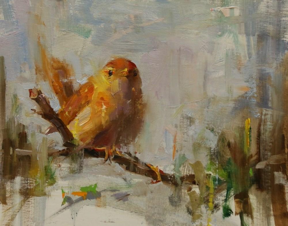 """""""A yellow bird"""" original fine art by Qiang Huang"""